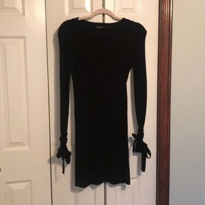 Boohoo Black Sweater Dress with Bows on sleeves